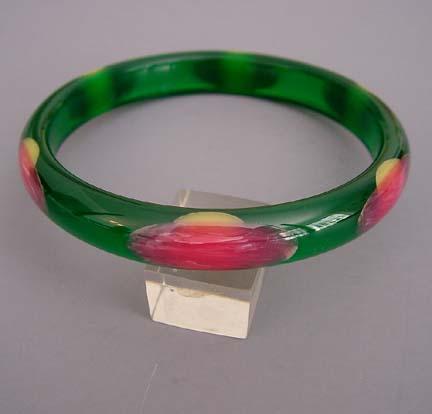 SHULTZ bakelite green transparent dot bangle