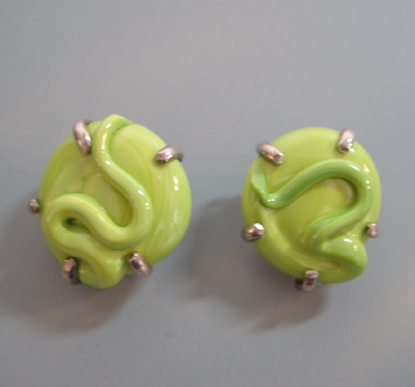 MARQUITA Masterson chartreuse poured glass earrings sterling