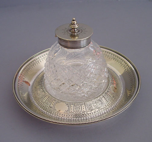 VICTORIAN Sheffield inkwell & stand, Celtic design, 1880