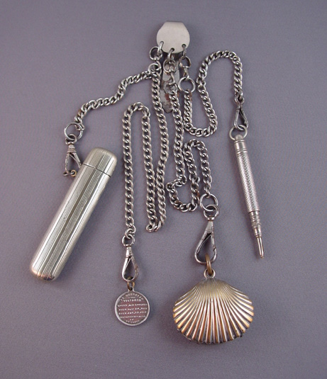 CHATELAINE in silver tone with 4 chains