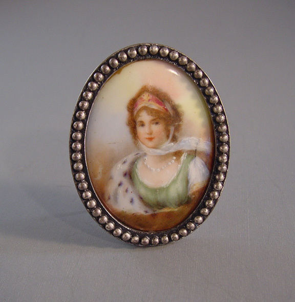 VICTORIAN mini portrait of a lady wearing her ermine stole