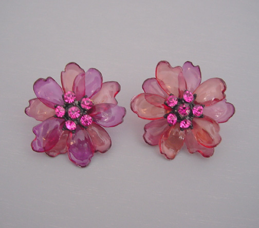FLOWERS purple and salmon colored flower earrings