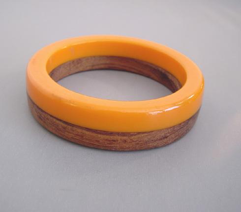 BAKELITE and wood laminated bangle