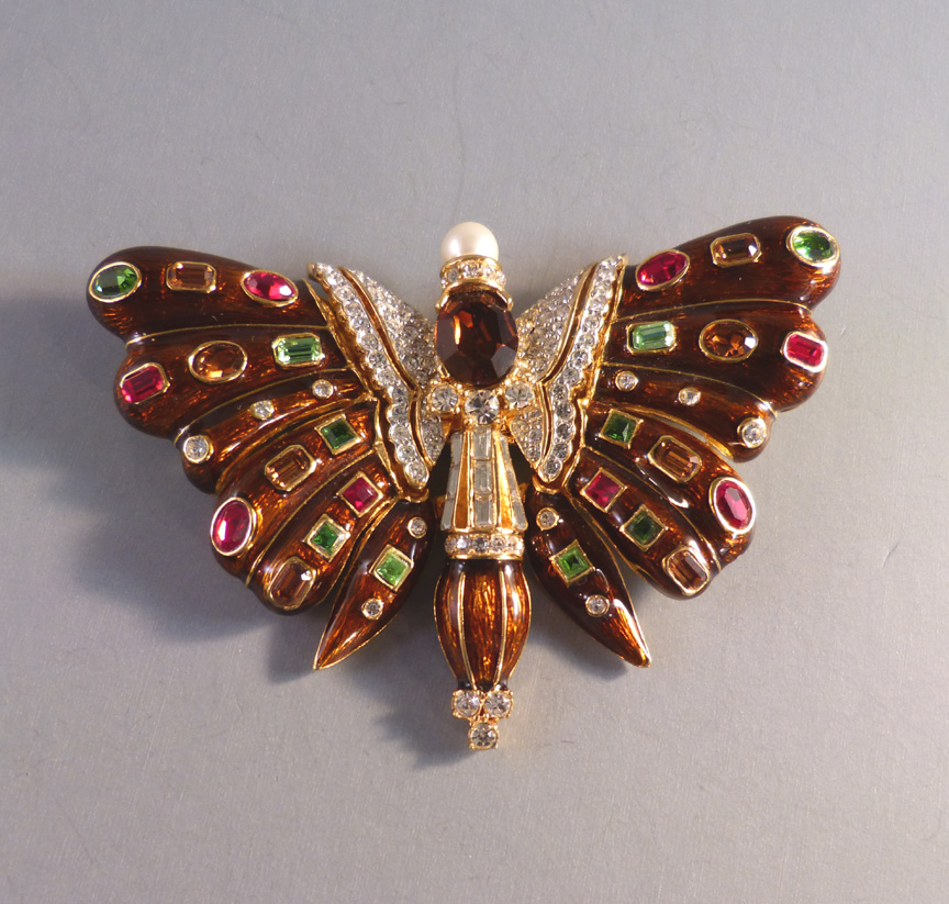 CINER rich caramel colored enameled butterfly brooch