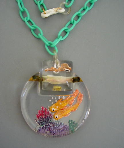 JUDY CLARKE Lucite reverse carved and painted fish pendant