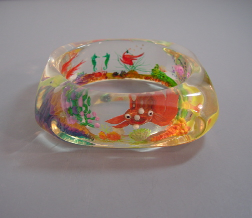 JUDY CLARKE Lucite reverse carved and brilliantly painted bangle