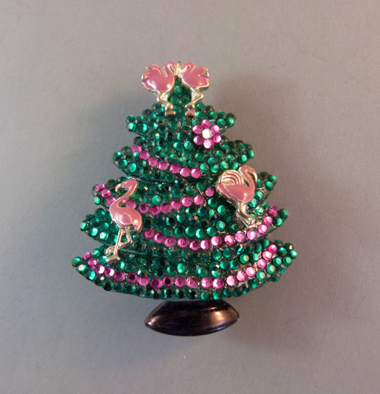 Christmas tree brooch with pink flamingos