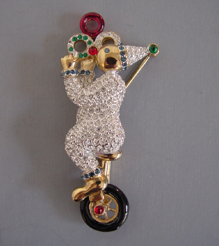 CAROLEE 1997 Limited clown unicycle mechanical brooch