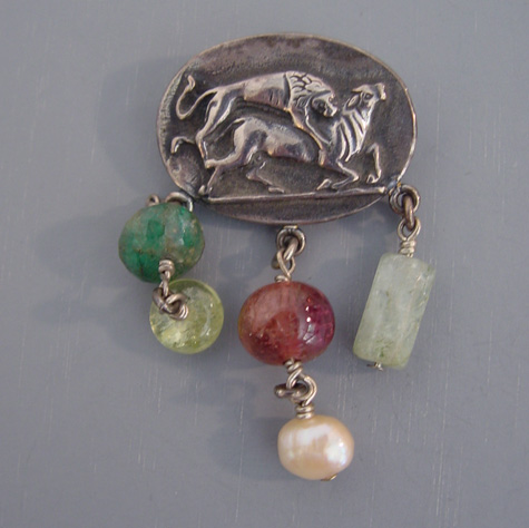 REBECCA COLLINS silver and natural stone brooch