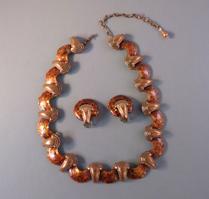 MATISSE enamel on copper necklace and clip back earrings