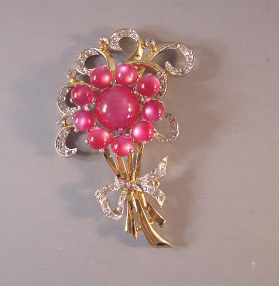 CORO pink moonglow flowers brooch with clear rhinestones