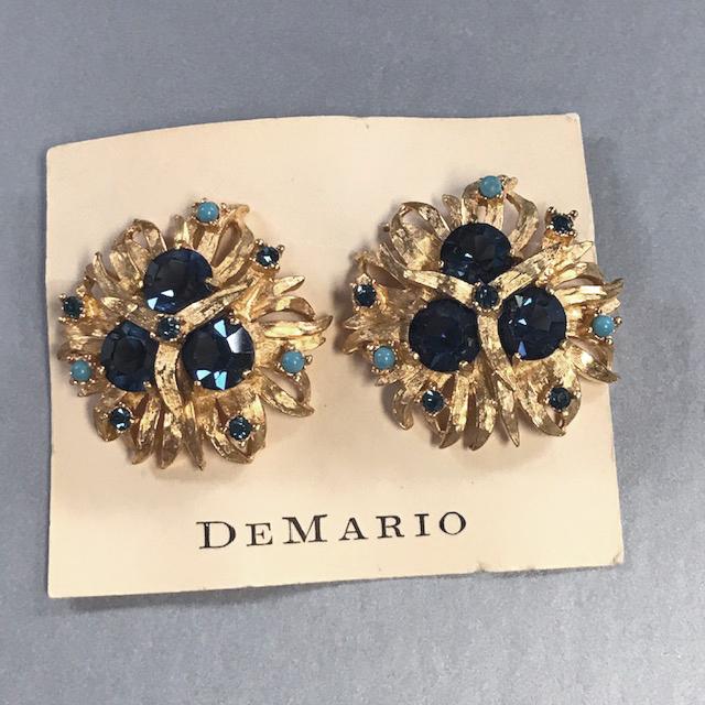 DeMario blue and aqua rhinestone earrings