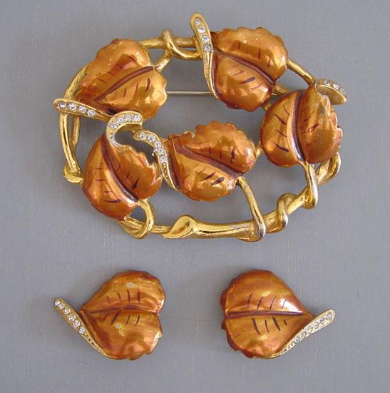 DEROSA unsigned enameled leaves brooch & earrings