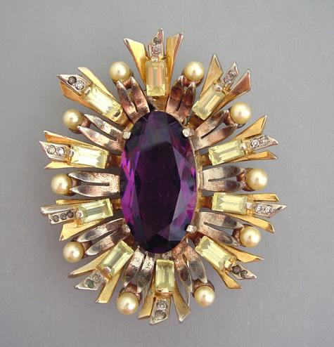 DEROSA fur clip purple center rhinestone, pale yellow baguettes