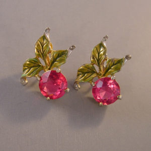 Derosa Deep Rose Pink Rhinestone Earrings