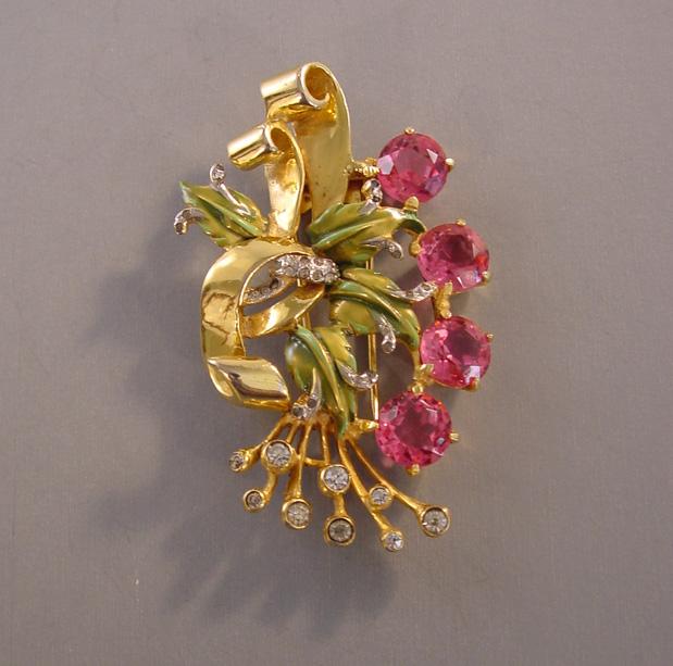 DEROSA deep pink rhinestone fur clip
