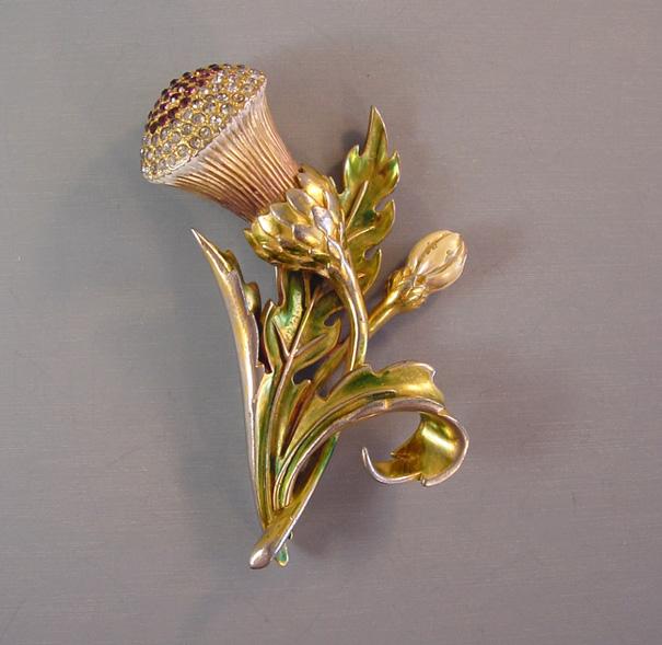 DEROSA unsigned enameled thistle brooch with translucent enamel