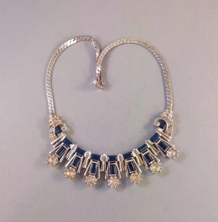 DEROSA style sterling & blue baguette rhinestones choker necklace