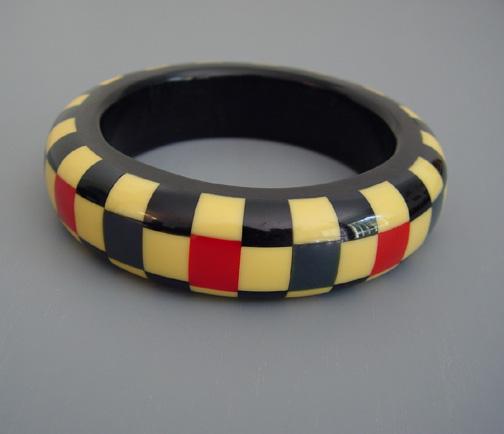 KRONIMUS bakelite three row navy, cream black, red check bangle