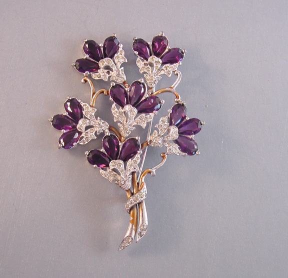 DUJAY unsigned purple & clear flower bouquet brooch