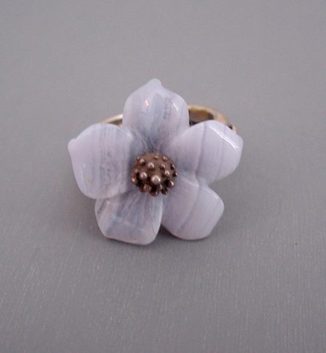 STEPHEN DWECK agate flower sterling ring