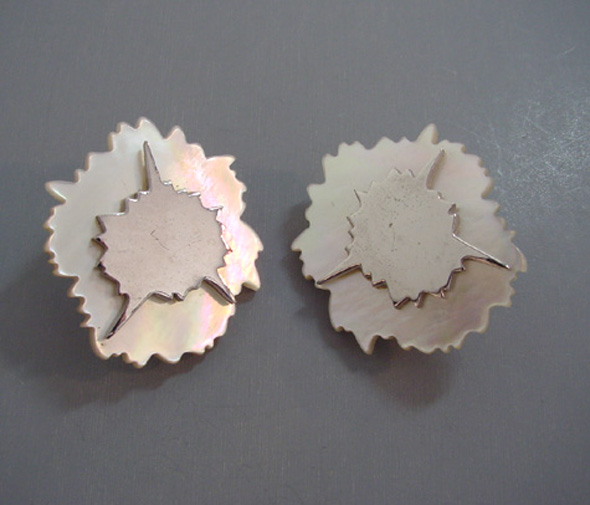 STEPHEN DWECK mother-of-pearl and silver tone earrings