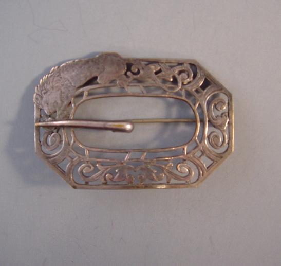 VICTORIAN silver roaring lion sash pin in buckle motif c 1900