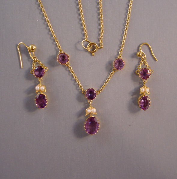 Edwardian 15k Amethyst Amp Seed Pearl Necklace Amp Earrings