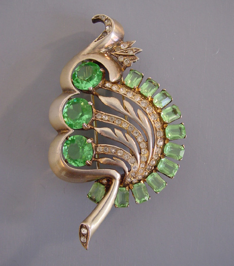 EISENBERG green leaf fur clip in sterling with a gold wash, 1945