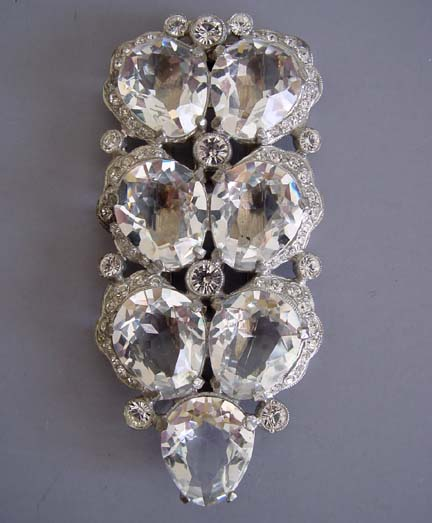Eisenberg Unsigned Clear Foiled And Unfoiled Rhinestones Set In Silver Tone Dress Clip Looks Like An But Has No Mark Circa 1940 3 1