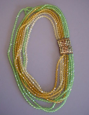 EUGENE 8-strand faceted glass yellow and green beads necklace