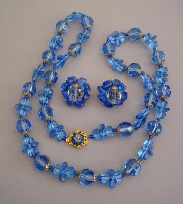 MIRIAM HASKELL blue glass necklace & earrings