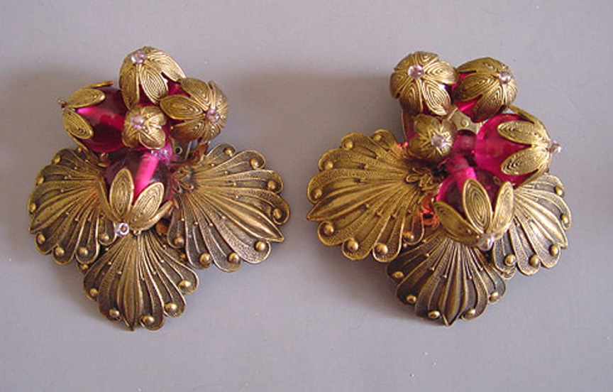 HASKELL early unsigned Hess cranberry glass beads dress clips