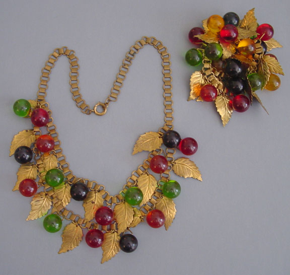 GUM DROP necklace and brooch set with glass red, blue and green