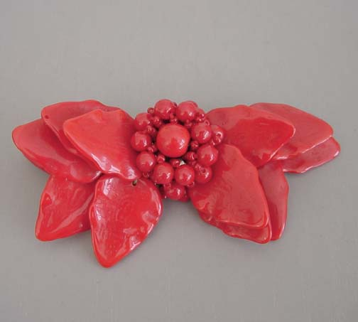 MIRIAM HASKELL Hess red glass leaves & beads bar brooch