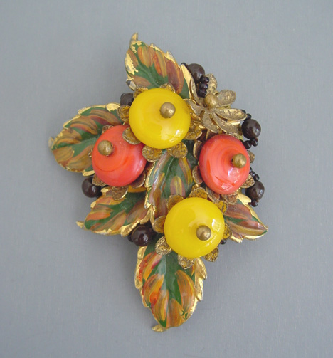 HASKELL Hess glass beads & painted leaves clip 1935