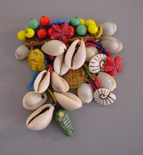 SEASHELL & colored glass dangling charms pin, 1940