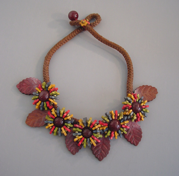 MIRIAM HASKELL wooden beads and carved leaves necklace