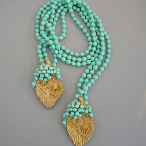 Miriam Haskell Aqua Glass Beads Gold Leaves Lariat