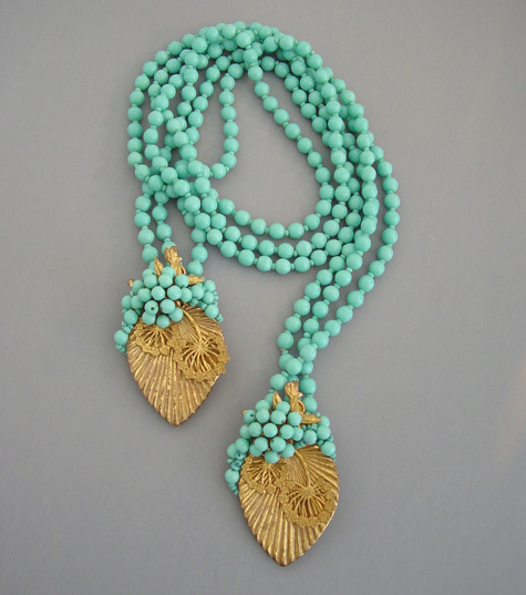 MIRIAM HASKELL aqua glass beads, gold leaves lariat