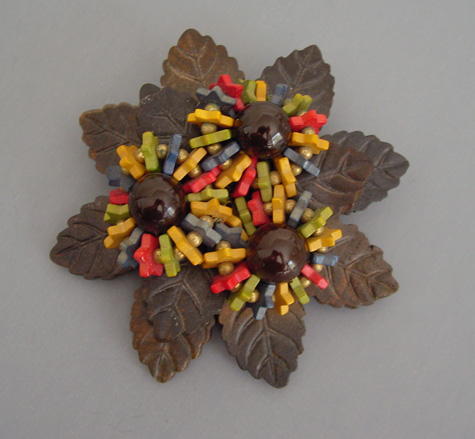 MIRIAM HASKELL wooden brooch brown red yellow, green