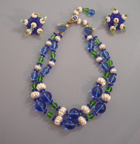 MIRIAM HASKELL blue & melon shaped glass pearl necklace & earrin