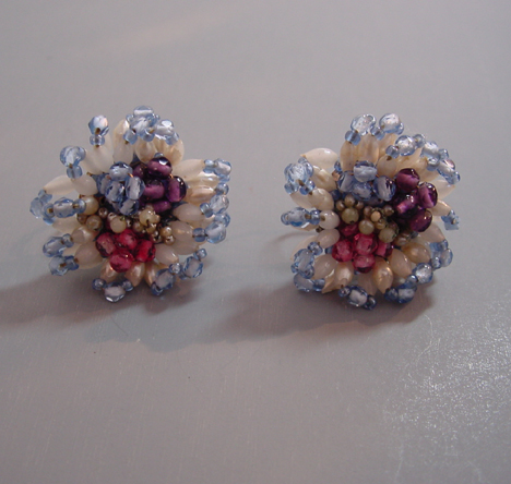BEADED earrings with blue, white, pink marked sterling