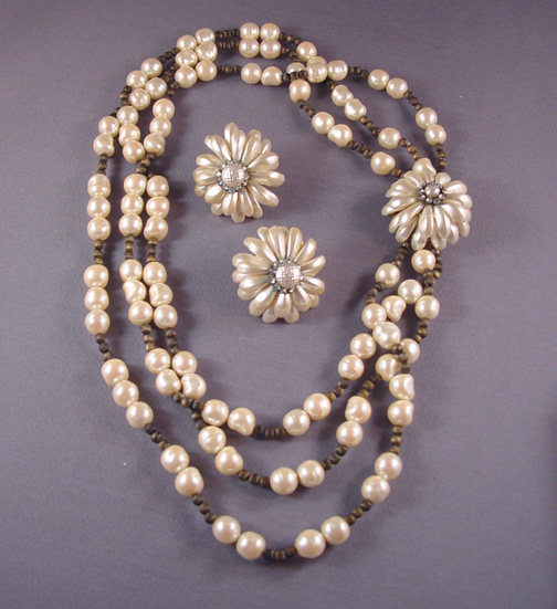 MIRIAM HASKELL necklace and earrings of pearls & petals