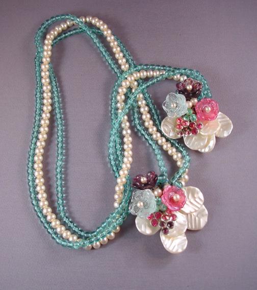 MIRIAM HASKELL lariat, aqua glass, glass pearls, glass flowers