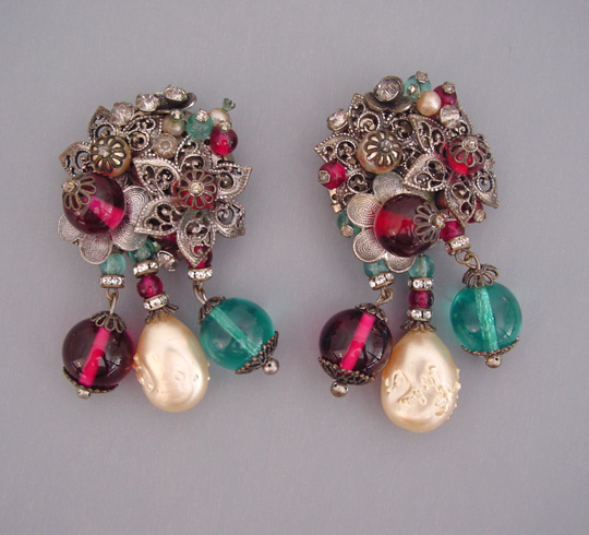 HASKELL Hess dress clips with glass pearls, aqua and cranberry