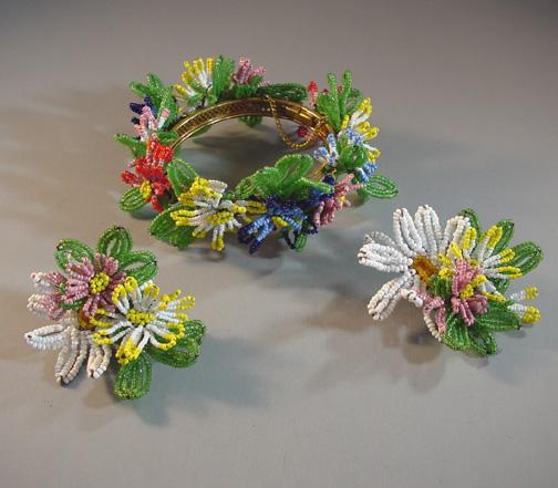 HASKELL very rare beaded flowers bracelet and earrings