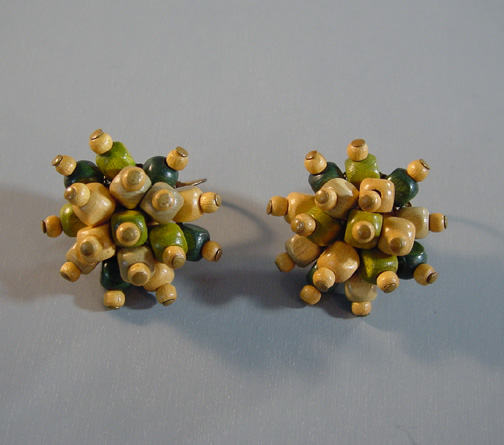 HASKELL or Czech unsigned natural, green, pale yellow earrings