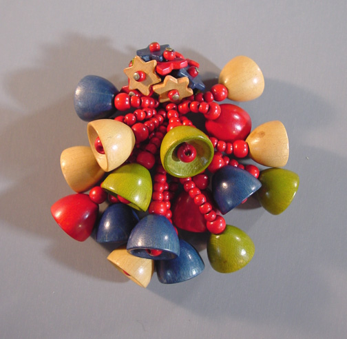 HASKELL Hess red, blue green and natural wood beads dress clip