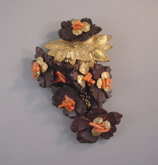 HASKELL Hess dress clip with carved wood flowers, stick coral